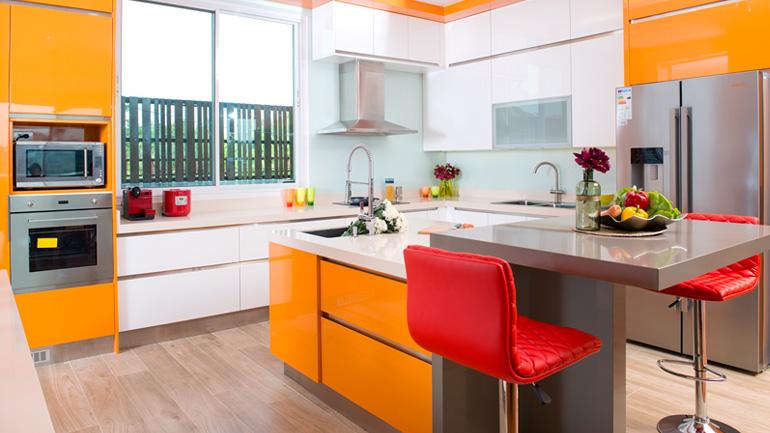 ผลการค้นหารูปภาพสำหรับ ห้องครัวสีส้ม
