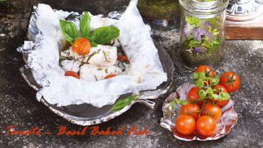 ปลากะพงขาวอบกับมะเขือเทศและใบเบซิล อร่อยแถมดีต่อสุขภาพ