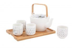 ชุดกาน้ำชา+ถ้วยและถาด (6ชิ้นชุด) รุ่น NIXEN