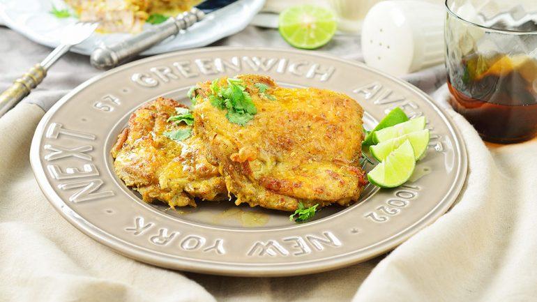 ไก่ย่างเนื้อนุ่มหมักด้วยน้ำกะทิและผงกะหรี่