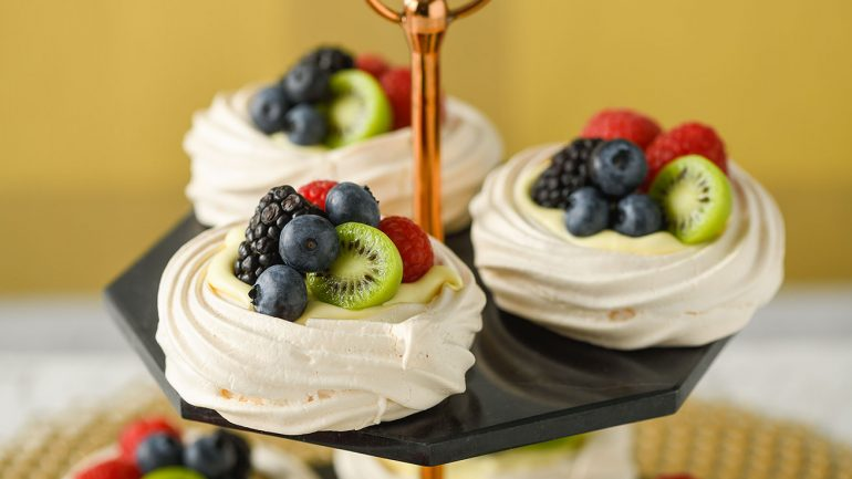 Pavlovas with Lemon Curd Cream and Berries